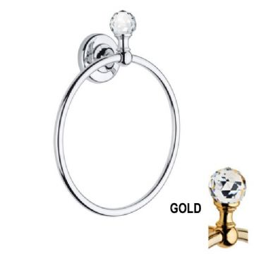 Bathroom Origins Oriental Crystal Towel Ring, Gold MA07S-G